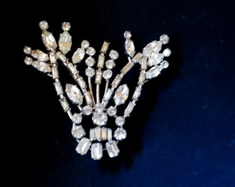 Art deco vintage 50s clear rhinestones and aurora borealis  large brooch. Made by Azub in Austria.