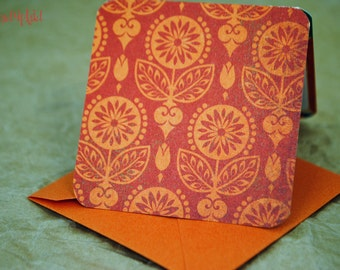 Blank Mini Card Set of 10, Vibrant Marrakech Design with Contrasting Pattern on the Inside, Orange Envelopes, mad4plaid