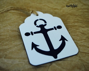 Set of 12 Nautical Anchor Gift or Bottle Tags, hand tied with jute twine, double sided,mad4plaid