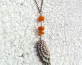 Angel Wing Necklace, Wing Pendant, Hand Carved Feather Necklace, Memory Necklace, Remembrance Necklace, Bird Feather Jewelry, Boho Necklace