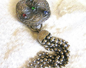 Vintage Victorian Repoussé Scarf Slide with Green, Red, Purple, and Blue Rhinestones and Ball Chain Tassel Dangle About 5 Inches Long (J2)