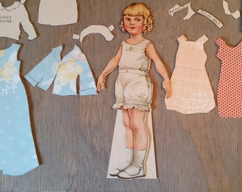 Vintage 1930's Joan Paper Doll with Home Made Clothes, Altered Art Supply, Mixed Media Assemblage Collage, Paper Ephemera