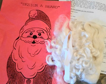 Vintage Christmas Santa Beard Kit with Mohair and Instructions