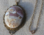 antique volcano scene shell cameo pendant necklace