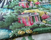 Reserved for Karena - Vintage Barkcloth Fabric Cottage Fairlawn Town & Country - Large Piece