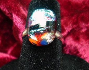 Handmade Fused Dichroic Glass Cab Ring - R104