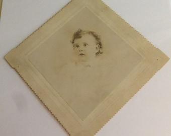 Antique Square Cabinet Card Victorian Infant Portrait CC803