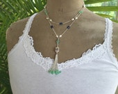"Bohemian Chic Tassel Necklace-Gemstone Tassel Necklace-""Rani"""