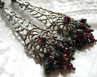 Gemstone Chandelier Earrings-Patina Brass-Etruscan Style Chandelier Earrings