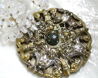 Rainbow Moonstone Medallion Necklace