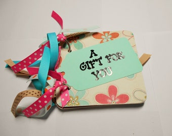Pink and Aqua Giftcard Holder, giftcard holder, giftcard, mini giftcard holder, a gift for you