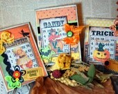 Halloween Card Set of 3 Hand Made Blank Inside With Envelope Mixed Media Collage Art