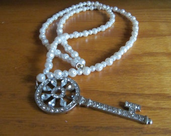 rhinestone key pendant necklace
