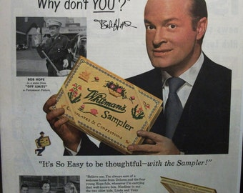 "Movies ... 143  ""Bob Hope for Whitman's Chocolates"" Ad  -  March 1953"