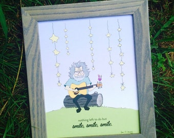 Jerry Garcia Nursery Print - Nursery & Kids room Art - Grateful Dead Quote Art - Smile, smile, smile