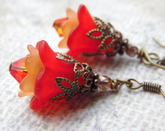 Vivid Red and Orange Flower Earrings with Lucite Flowers, Crystal and Antiqued Brass