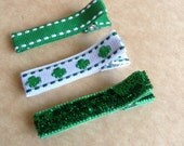Simple St. Patrick's Day Hair Clips, Toddlers Hair Clips, Simple Clippies, Girls Hair Bows, St. Patrick's Day, Green and White, Shamrocks