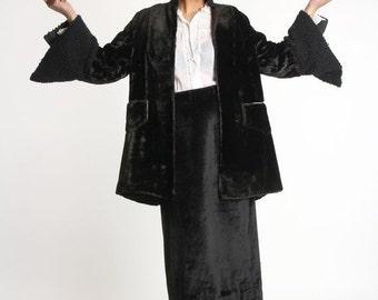 ON SALE LAMBSWOOL & Velvet Jacket . Deco Era Winter Wear