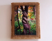 twisted - inspire journal  - travel vacation tri fold waxed burlap journal