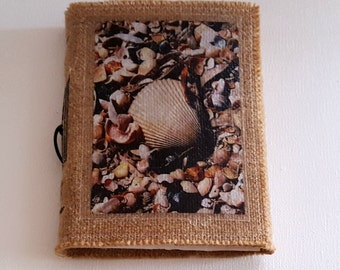 seashells inspire journal- travel vacation beach tri fold waxed burlap journal