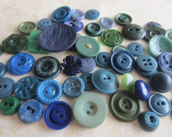 Vintage Buttons - Cottage chic mix of blue and green lot of 57, old and sweet (sept 289)