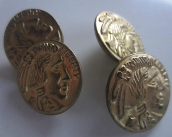 Vintage Buttons -4 matching silver indian head coin silver metal buttons,(oct4)