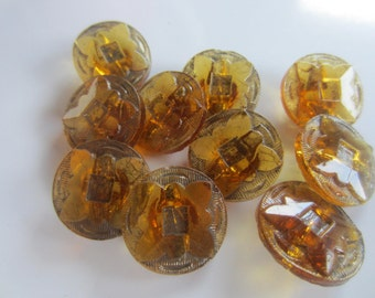Vintage Buttons - lot of amber medium matching Depression glass, novelty cut glass, lot of 10 (lot oct 28)