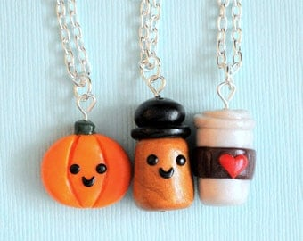 Pumpkin Spice Latte 3 Best Friends Charm Necklaces, Polymer Clay