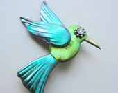 Whimsical chartreuse green Hummingbird with iridescent green wings Pin Brooch