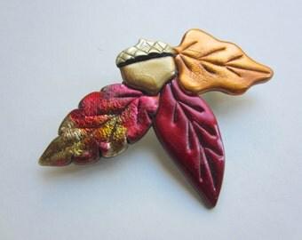 Autumn fall leaves and acorn pin brooch maple oak tree