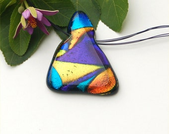 Dichroic fused glass pendant, channel fused in, purple, blue, gold, yellow, stainless steel choker