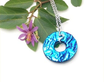 Fused dichroic glass pendant blue donut, ripple