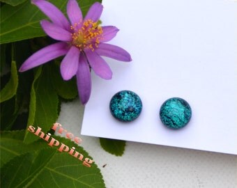 138 Fused dichroic glass earrings, round, sparkle, turquoise, blue green