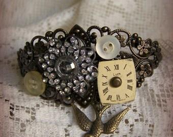 Steampunk Bracelet Vintage Style Altered Watch Face Bracelet Filigree Bracelet Vintage Rhinestone Ornate Charm Bracelet Cuff Bracelet