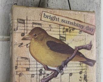 Original Collage Vintage Bird Collage Altered Mixed Media  Original Bird Art  Altered Art Vintage Mixed Media Altered Art Vintage Yellow
