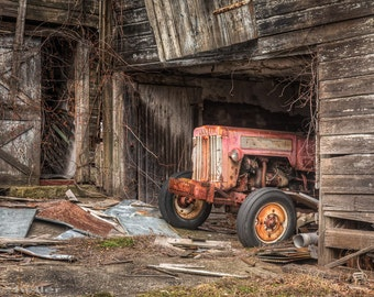 Old Tractor in a barn, Rustic Old Barn, Farm Machinary, Abandoned machinary, Industrial, Americana, Fine Art Color Photograph, Signed Print