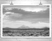 Mount Shasta, Black and White, Landscape Photograph, Mountain Art, California Art, Modoc, Sagebrush, Western Picture, Tulelake, Lava Beds