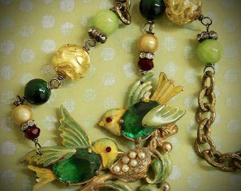 Yellow Warbler-Antique Jelly Belly Bird Brooch Assemblage Necklace