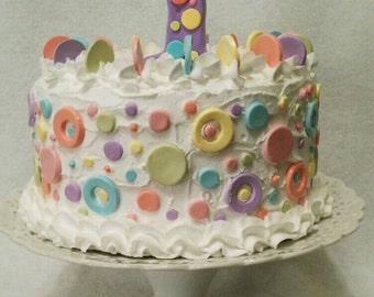 Artificial Cake ~ Fake Cake ~ Display Cake ~ Birthday Photography Prop ~  Birthday  Cake ~  Faux Birthday Cake