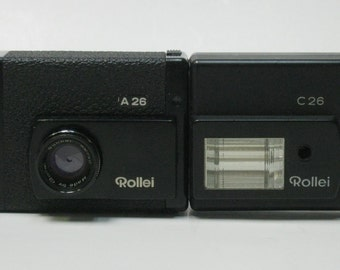 Vintage Rollei A26 126 Film Camera with C26 Flash Unit- 1972 to 1976 For Display
