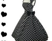 New Rockabilly Dress Polka Dot 50s Style Pinup Party Dress S M 1X 2X 3X Plus Vintage Style Collar Bow Black White Dots Dotted