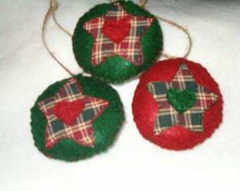 Prim Felt Tree Star Ornaments