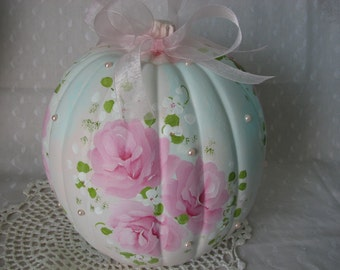 Large Pumpkin Hand Painted Aqua Pink Roses Fall Autumn Decor Thanksgiving