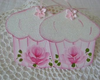 Cupcake Ornaments Hand Painted Shabby chic Pink Rose, Glitter Set of 2