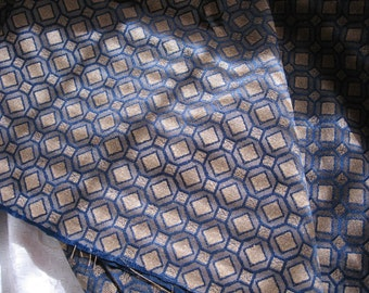 Vintage Navy Blue and Gold Upholstery Weight Fabric