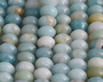 Amazonite Large Hole Gemstone Beads big, 8x12mm gemstone rondelle, large hole bead, beads for leather, Aqua large hole gemstone, Amazonite
