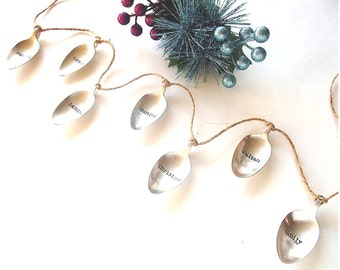 Personalized Family Spoon Garland Stamped Spoons Silverware Decor Recycled Vintage Spoons Hand Stamped Kitchen Decor Family Names Decor
