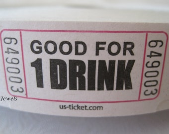 100 Drink Tickets, Good For One Drink Ticket, White Tickets, Wedding Reception Drink Ticket, Host Bar, Alcohol Drink Ticket, Birthday Party