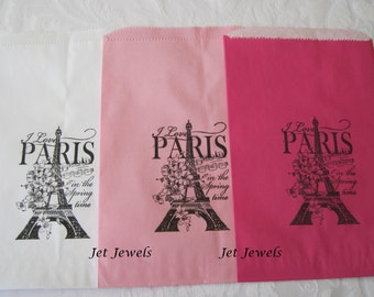 20 White Paper Bags, Pink Paper Bags, Eiffel Tower, Paris Theme Party, Favor Bags, Gift Bags, Thank You Bags, Hand Stamp Bags 6x9