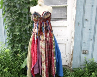 Raw Tattered Multi Colored Bohemian Gypsy Bustier Corset Maxi Dress// Reconstructed// emmevielle